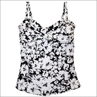 Heat Womens Twisted Bandeau Tankini Swimsuit Top S-XL - Small / Black White Floral - Womens