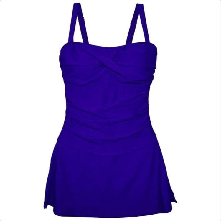 Heat Womens Twisted Front Flirty Swimdress Swimsuit Black or Blue - Small / Royal Blue - Womens