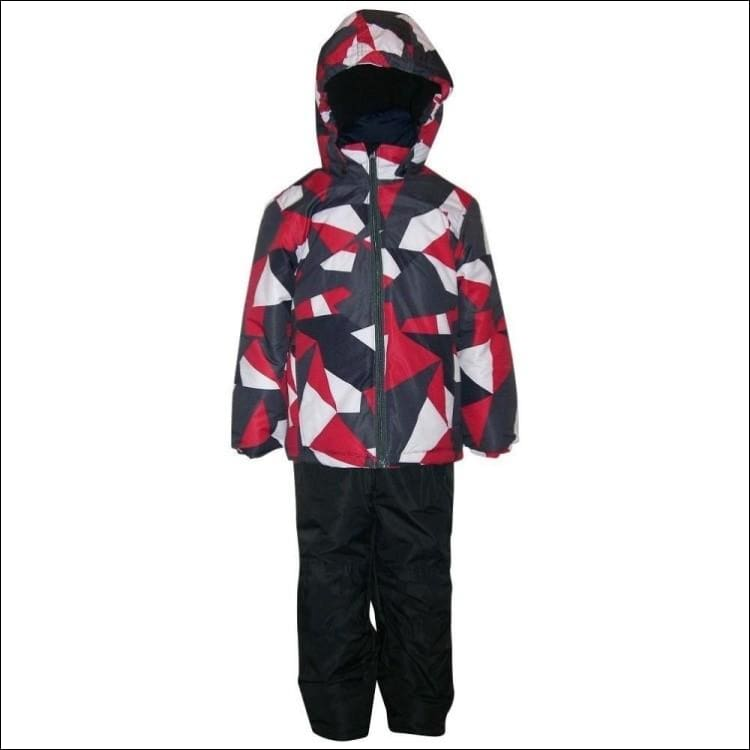 Little Boys and Toddler Pulse 2 Piece Snowsuit Ski Jacket and Ski bibs Red Maze 2T-7 - Large (7) / Red Maze - Kids