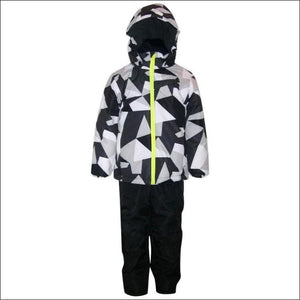 Little Boys and Toddler Pulse 2 Piece Snowsuit Ski Jacket and Ski bibs Red Maze 2T-7 - Medium (6) / White Maze - Kids