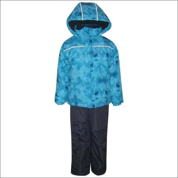 Little Boys and Toddler Pulse 2 Piece Snowsuit Ski Jacket and Snow Pants Edge Blue 2T-7 - Small (4/5) / Blue Geo - Kids