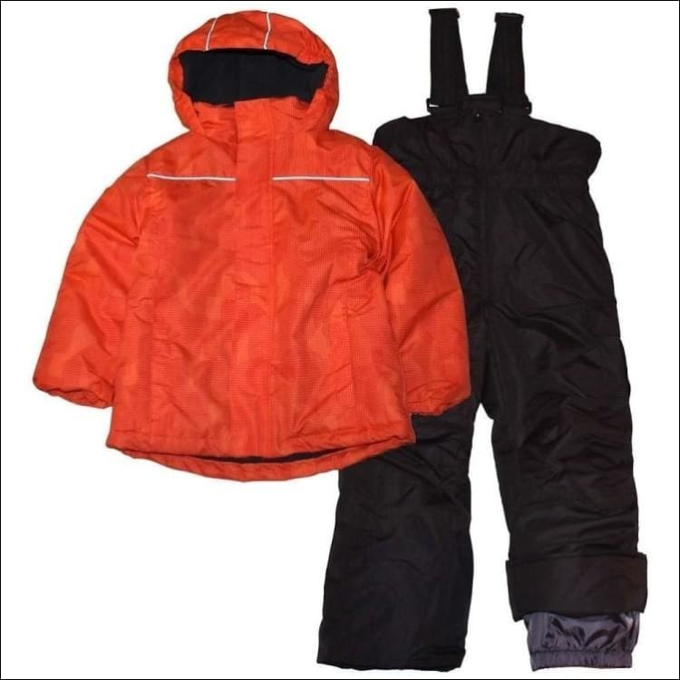Little Boys Pulse 2 Piece Snowsuit Ski Jacket and Snow pants Barrel 2T-4T 4/5-7 - Small (4/5) / Orange Digital - Kids