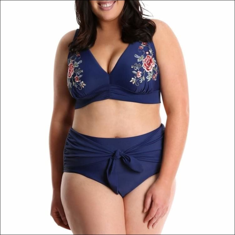 Lysa Womens Plus Size Barbie Floral Embroidered Bikini Swimsuit 2pc Set 0X 1X 2X 3X - 0X (14/16) / Navy Embroidered - Swimsuits
