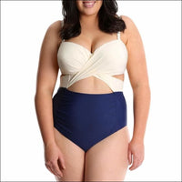 Lysa Womens Plus Size Carly Twist Front One Piece Swimsuit 0X 1X 2X 3X - 0X (14/16) / Ivory Navy - Swimsuits