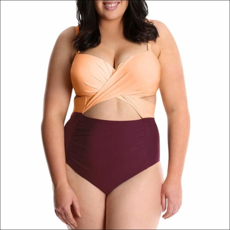 Lysa Womens Plus Size Carly Twist Front One Piece Swimsuit 0X 1X 2X 3X - 0X (14/16) / Peach Burgandy - Swimsuits