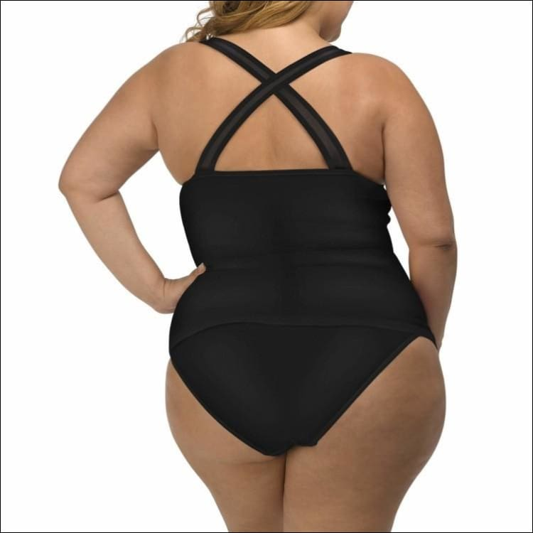 Lysa Womens Plus Size Mariah Tankini Bikini Swimsuit 2pc Set 0X 1X 2X 3X - Swimsuits