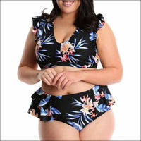 Lysa Womens Plus Size Renee Floral Ruffle Bikini Swimsuit 2pc Set 0X 2X 3X - 0X (14/16) / Black Floral - Swimsuits