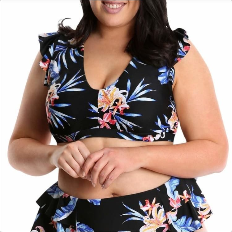 Lysa Womens Plus Size Renee Floral Ruffle Bikini Swimsuit 2pc Set 0X 2X 3X - Swimsuits
