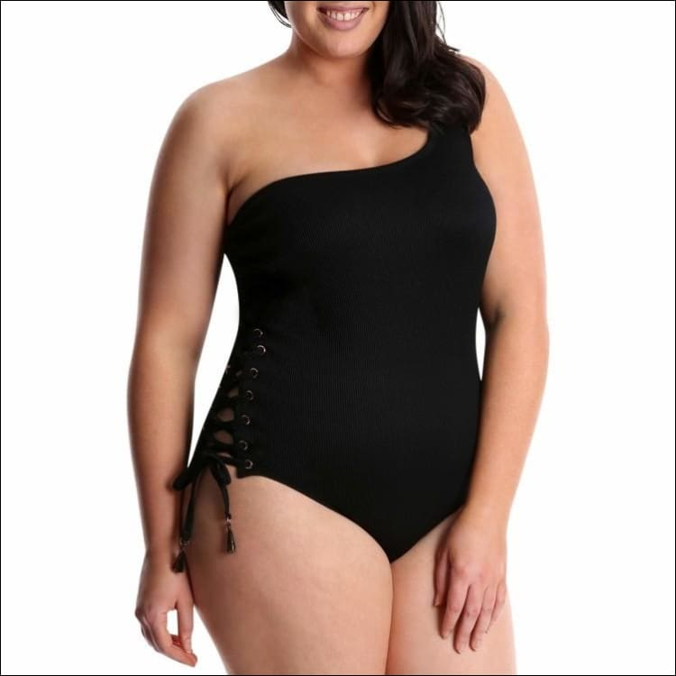 Lysa Womens Plus Size Ribbed Single Shoulder Lisa One Piece Swimsuit 0X 1X 2X 3X - Swimsuits