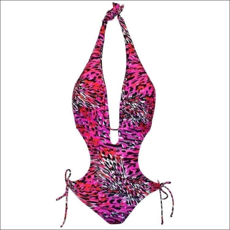 NWSC Monokini One Piece Swimsuit S M L XL XXL - XX-Large / Pink Black - Womens