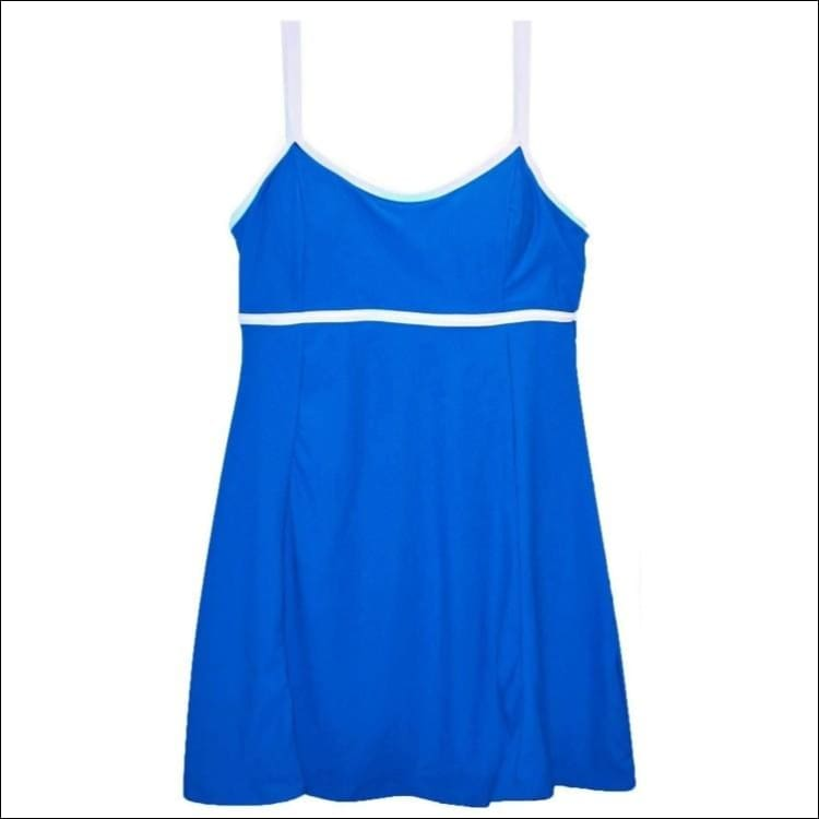 NWSC Womens Empire Swimdress Swimsuit 10-16 - 10 / Blue - Womens