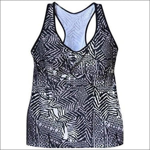 NWSC Womens Plus Size Racer Tankini Swimsuit top 18-24W - 18W / Grey Black - Womens