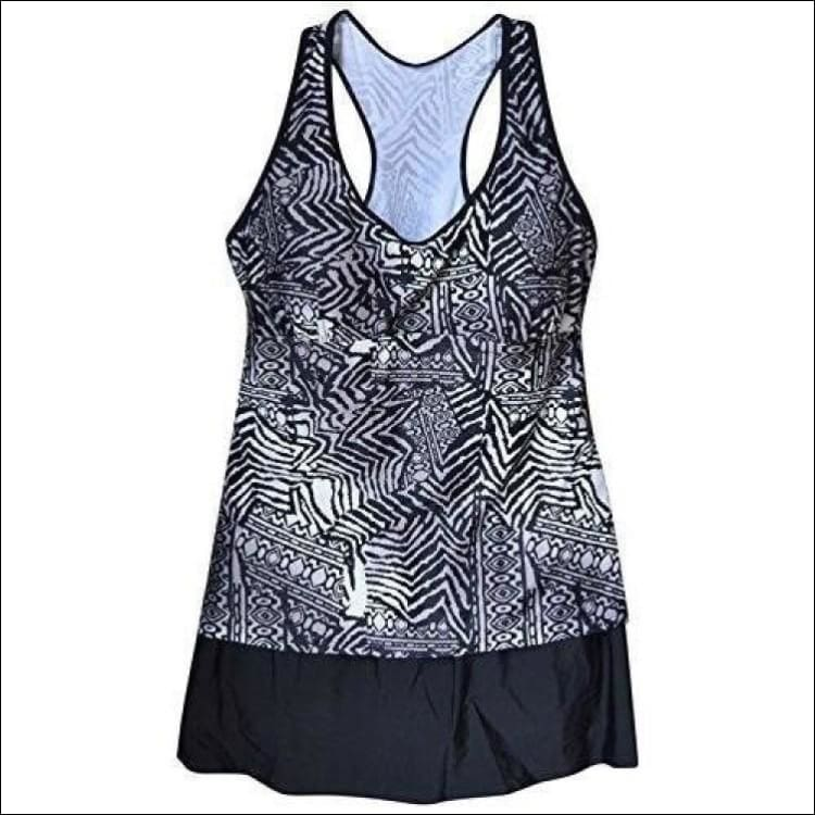 NWSC Womens Plus Size Racer Tankini Swimsuit top and Skirtini Swim Skirt Bottoms 18-24W - 18W / Grey Black - Womens