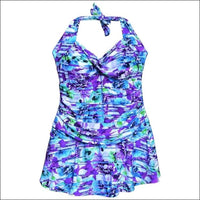NWSC Womens Plus Size Retro Halter Swimdress Swimsuit 18-24W - 18W / Purple Floral - Womens
