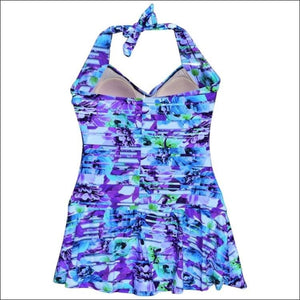 NWSC Womens Plus Size Retro Halter Swimdress Swimsuit 18-24W - Womens