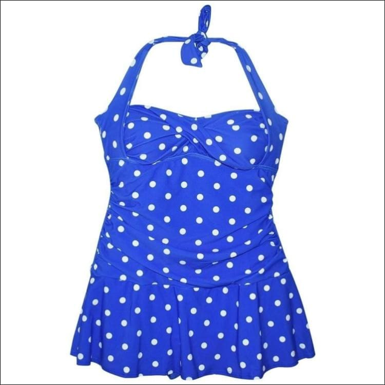 NWSC Womens Retro Halter Swimdress 10-16 Blue White Dot - 10 / Blue - Womens