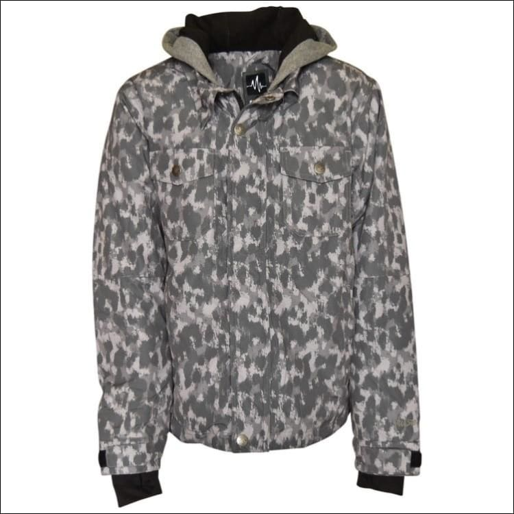 Pulse Girls Youth Teen Insulated Snowboarding Jacket Rhythm Leopard XL - X-Large (18) / Grey Leopard - Kids