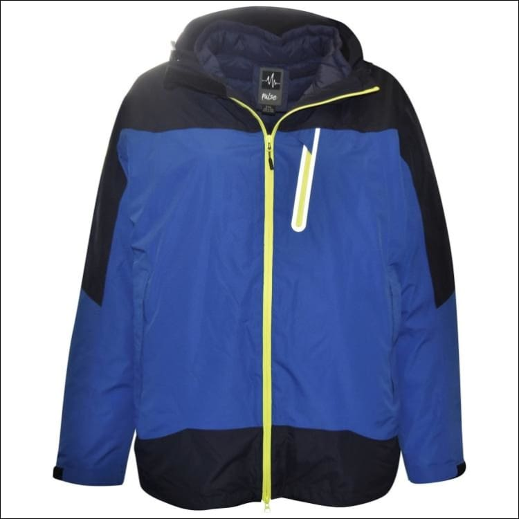 Pulse Mens Big Sizes Swiss Systems 3in1 Ski Jacket Coat 2XL - 6XL - 2XL / Blue Navy - Mens