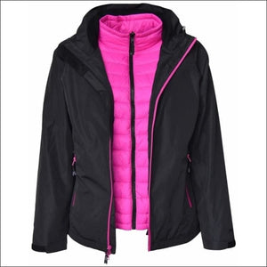 Pulse Womens Plus Size 3in1 Ski Jacket 1X-6X Swiss Systems - 1X / Black Pink - Womens
