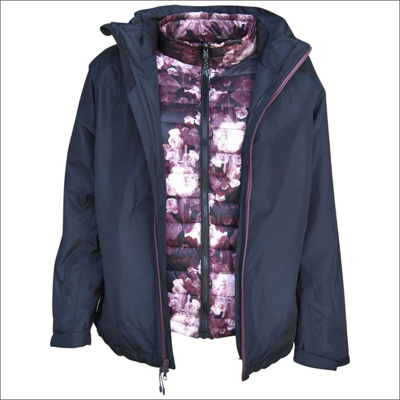 Pulse Womens Plus Size 3in1 Ski Jacket 1X-6X Swiss Systems - 1X / Black Wine Floral - Womens