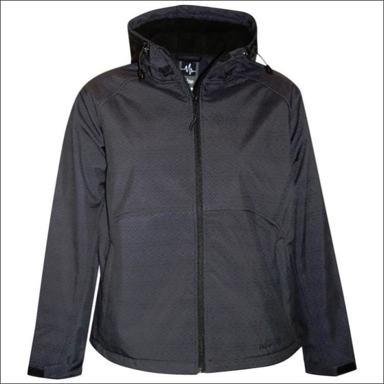 Pulse Womens Plus Size Hooded Soft Shell Jacket 1X 2X 3X - 1X / Black Diamond - Womens