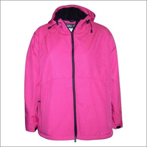 Pulse Womens Plus Size Hooded Soft Shell Jacket 1X 2X 3X - 1X / Pink Embossed - Womens