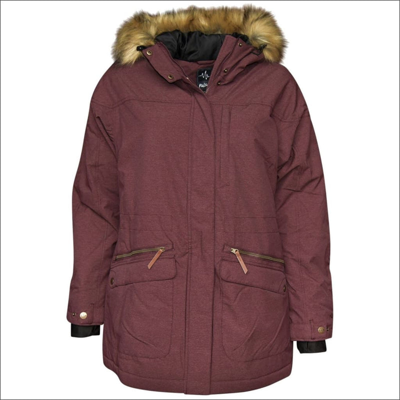 Pulse Womens Plus Size Insulated Parka Societe Coat 1X-6X - 1X / Burgundy - Womens