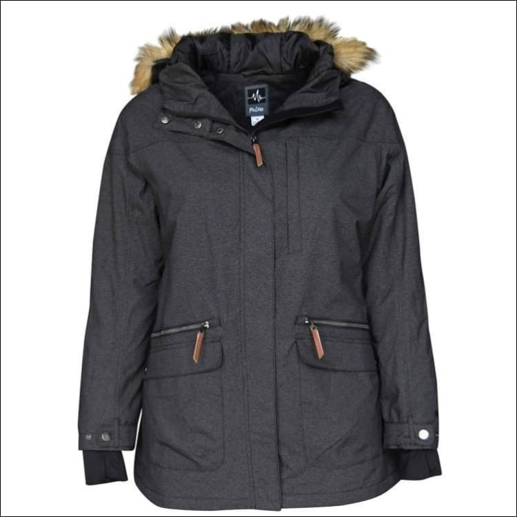 Pulse Womens Plus Size Insulated Parka Societe Coat 1X-6X - 1X / Heather Black - Womens