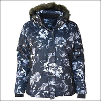 Pulse Womens Plus Size Insulated Ski Jacket 1X 2X 3X 4X 5X 6X Aspens Calling - 1X / Black Grey Flower - Womens