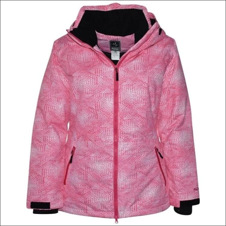 Pulse Womens Plus Size Insulated Ski Jacket 1X Honeycomb - 1X / Melon Honeycomb - Womens