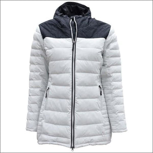 Pulse Womens Plus Size Puffy Insulated 3/4 parka Broadway 1X 2X 3X 4X 5X (14-24W) - 1X (14W) / Glacier Grey - Plus Size