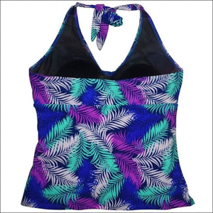 Simply Fit Womens Plus Size Halter Tankini Swim Skirt Swimsuit Set 16 - Womens
