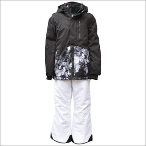 Snow Country Outerwear Girls Big Youth 2 Pc Snow Suit Ski Jacket and Pants Set Peony S-L - Small (7/8) / Black - Kids