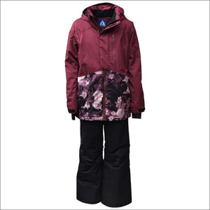 Snow Country Outerwear Girls Big Youth 2 Pc Snow Suit Ski Jacket and Pants Set Peony S-L - Small (7/8) / Peony Wine - Kids
