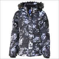 Snow Country Outerwear Girls Big Youth Insulated Ski Jacket Coat Aspens Calling S-L - S (7/8) / Black Grey Flower - Kids