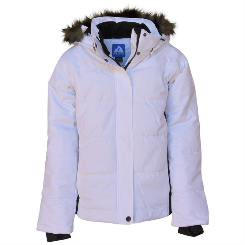 Snow Country Outerwear Girls Big Youth Insulated Ski Jacket Coat Aspens Calling S-L - S (7/8) / White Black - Kids