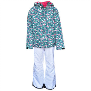 Snow Country Outerwear Girls Big Youth Snowsuit Ski Jacket and Snow Pants Snowday Set S-L - Small (7/8) / Teal Dot - Kids
