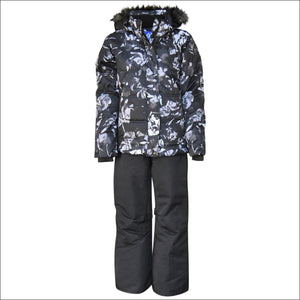 Snow Country Outerwear Girls Big Youth Snowsuit Ski Jacket Pants Aspens Calling 7-16 - S (7/8) / Black Flower Black - Kids
