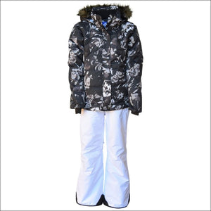 Snow Country Outerwear Girls Big Youth Snowsuit Ski Jacket Pants Aspens Calling 7-16 - S (7/8) / Black Flower White - Kids