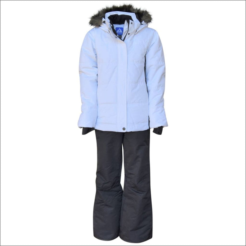 Snow Country Outerwear Girls Big Youth Snowsuit Ski Jacket Pants Aspens Calling 7-16 - S (7/8) / White Black - Kids