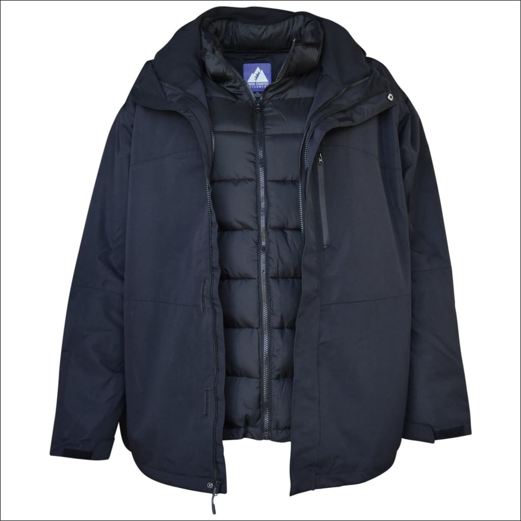 Snow Country Outerwear Mens 3in1 Burlington Jacket Coat Big Sizes 2XL-7XL - 2XL / Black - Mens