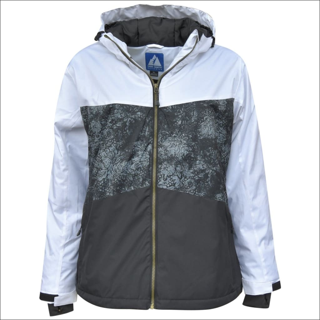 Snow Country Outerwear Womens Plus Size Vibe Ski Coat Jacket 1X-6X - 1X (16/18) / Vibe Black White - Plus Size