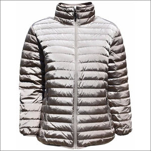 Sportcaster Womens Plus Size Packable Down Jacket 1X-6X - 1X / Bronze - Plus Size