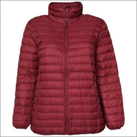 Sportcaster Womens Plus Size Packable Down Jacket 1X-6X - 1X / Cranberry - Plus Size