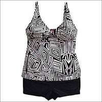 Swimbay Womens Plus Size 2 Piece Tankini Boyshorts Swimsuit Set 14-16W - 2X (14W) / Black White Abstract - Swimsuits