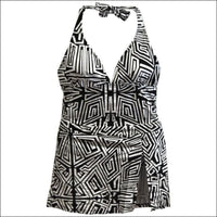 Swimbay Womens Plus Size One Piece Swimsuit with Skirt Wrap 14W-18W - 2X (14/16W) / Black White Abstract - Swimsuits