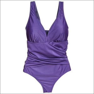 Womens Plus Size One Piece Wrap Swimsuit Purple 16W - 16W / Purple - Womens