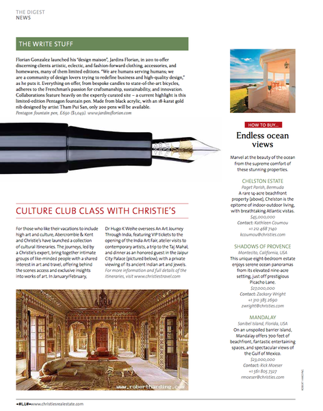 Christie's Home magazine article on Jardins Florian