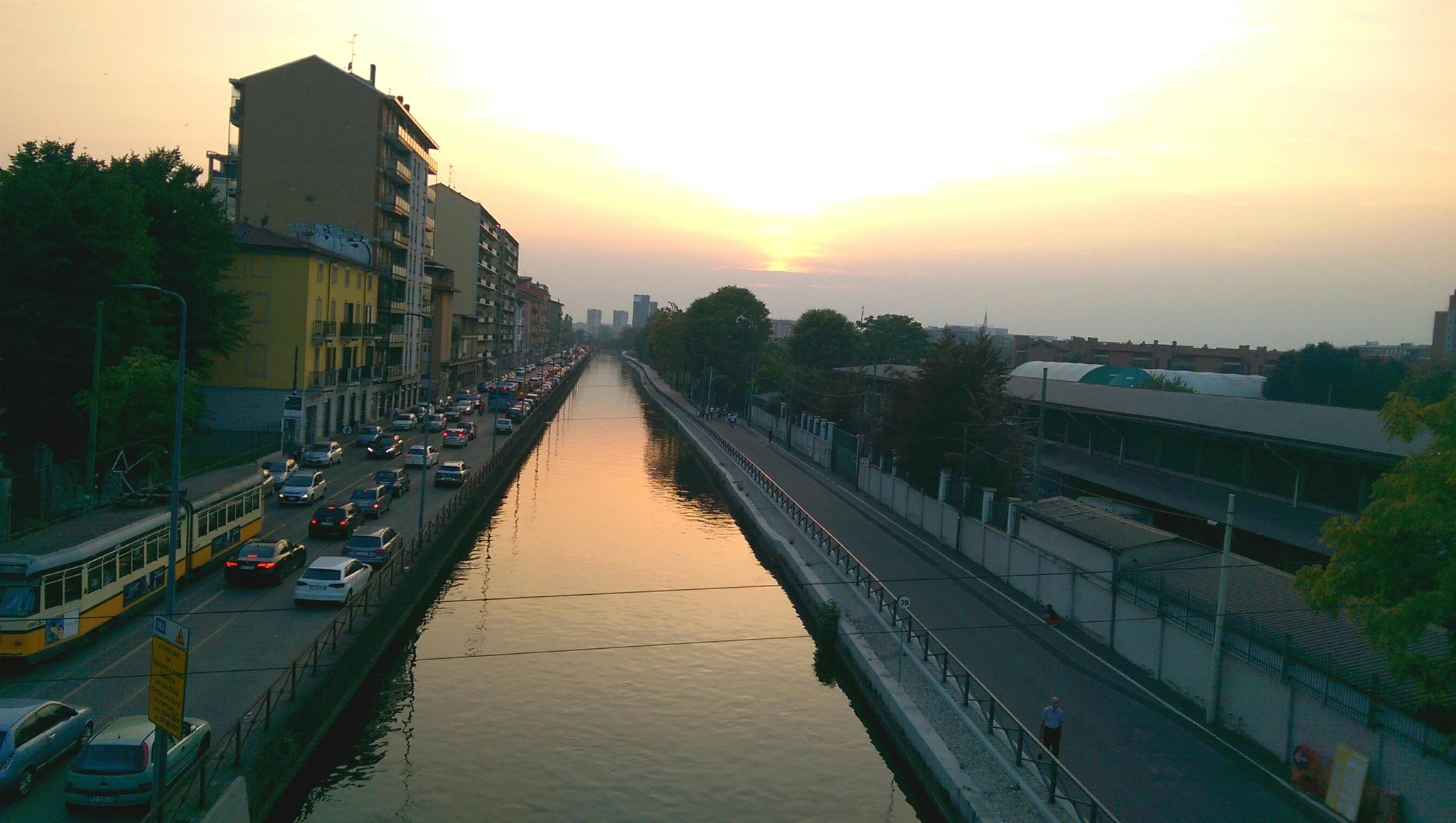 Milan canals at sunset