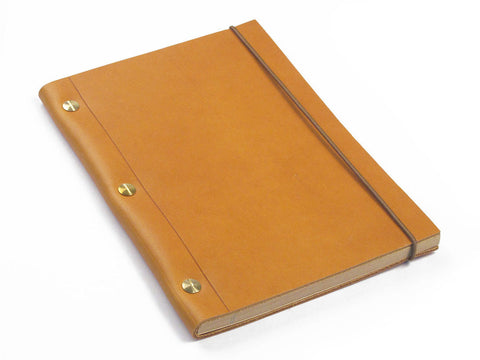 Notebook in Gold Leather (Medium size A5)